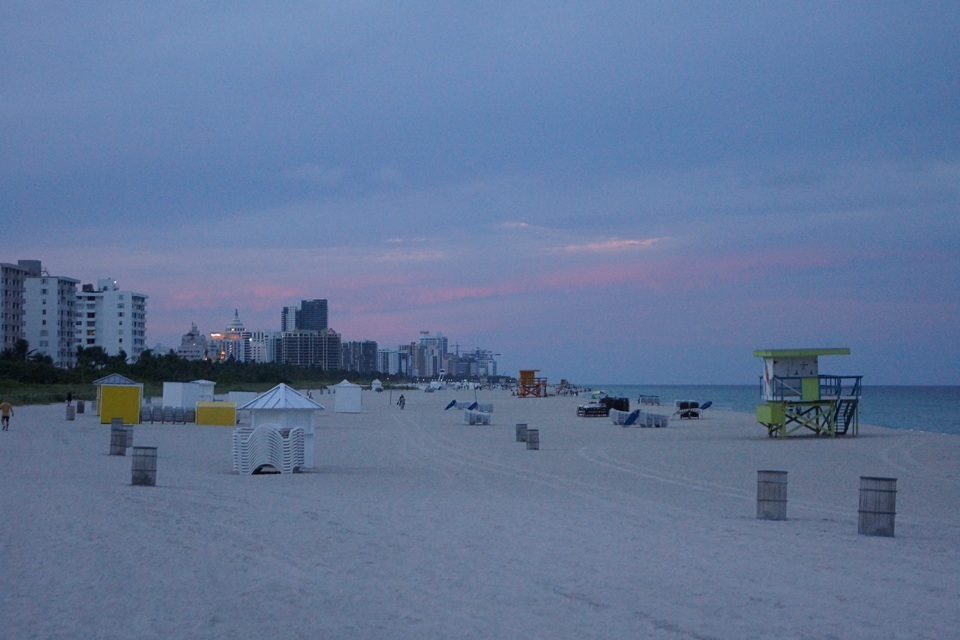 South Beach bei Sonnenuntergang